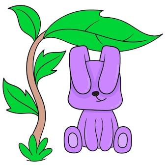 Coelho roxo está se abrigando sob uma árvore com folhas largas. ícone do doodle kawaii.