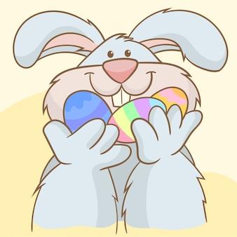 Coelho, segurando, ovos páscoa