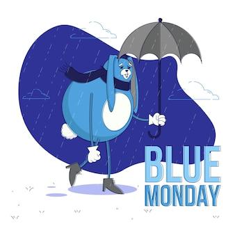 Coelho triste na segunda-feira azul