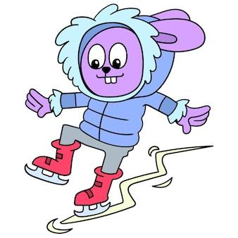 Coelho vestindo uma jaqueta com capuz jogando patinação no gelo patinar. ilustração arte, doodle ícone imagem kawaii.