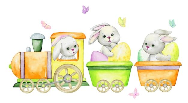 Coelhos, andando de trem, com ovos de páscoa, rodeados de borboletas. clip-art em aquarela, em estilo cartoon, desenhado à mão
