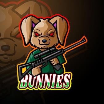Coelhos arma esport logotipo mascote design
