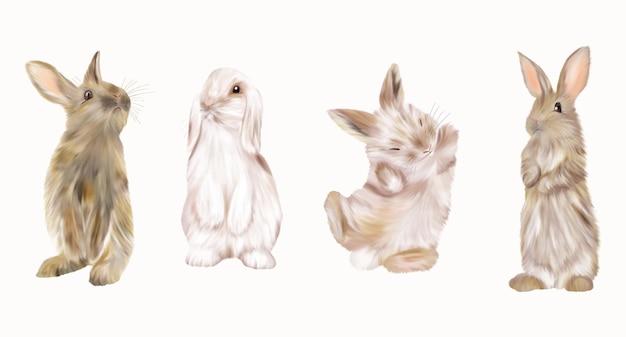 Coelhos brancos da páscoa e coelhos marrons. feriados