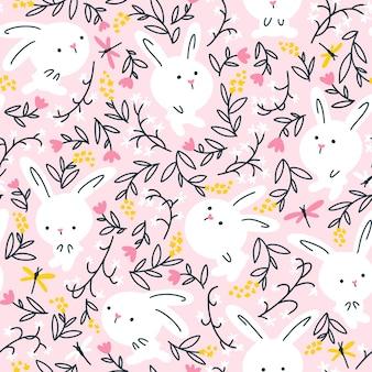 Coelhos brancos no padrão sem emenda de flores de verão. ilustração de berçário em fundo rosa.