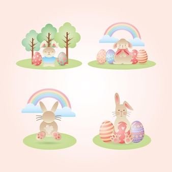 Coelhos e ovos de páscoa entre a paisagem