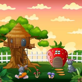 Coelhos felizes brincando na ilustração da casa da fantasia