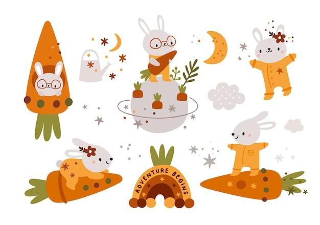 Coelhos fofos com cenouras