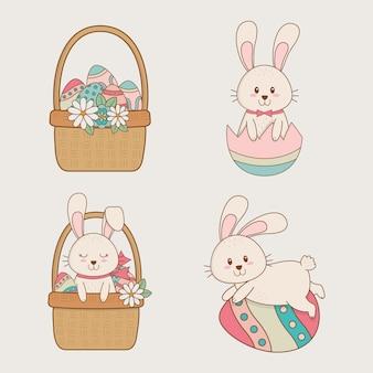 Coelhos pequenos com cestas de caracteres de páscoa
