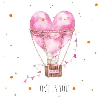 Coelhos se abraçando em um balão, cartão de dia dos namorados, flores