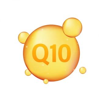 Coenzima q10. ícone de óleo de ouro. cápsula de pílula de gota de enzima. ilustração das ações.