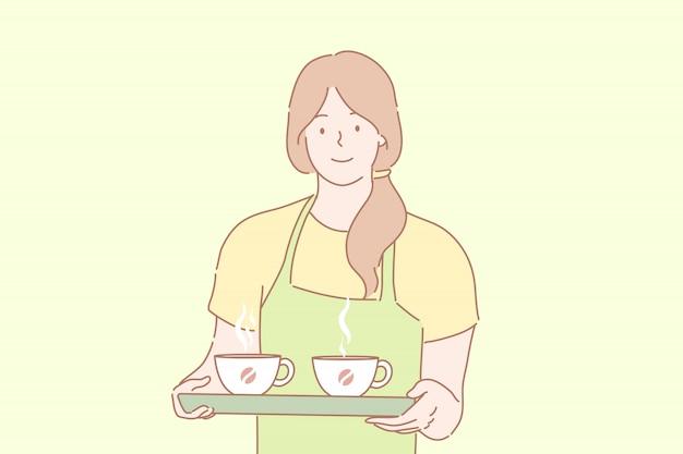 Cofee, barista, serviço, oferta, ordem, conceito de publicidade