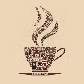 Cofee conjunto de ícones xícara de ícones pequenos