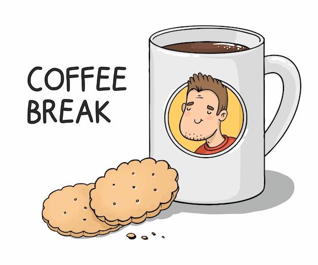 Coffee break cartoon caneca com café e biscoitos