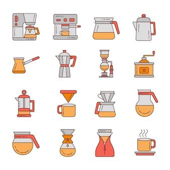 Coffee icon set design ilustração do logotipo