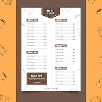 Coffee shop menu café modelo