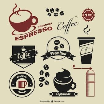 Coffee shop símbolos do vintage