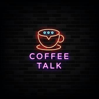 Coffee talk modelos de design de sinais de néon estilo néon