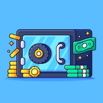 Cofre de banco com caixa de depósito de moedas de pilhas de dinheiro