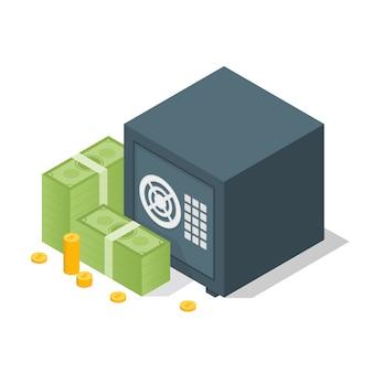 Cofre do banco com modelo de pilhas de dólar de dinheiro