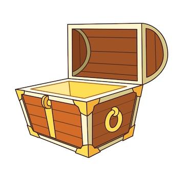 Cofre do tesouro dos desenhos animados aberto