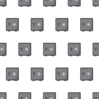 Cofres de aço padrão sem emenda em um fundo branco. ilustração em vetor de tema de cofres de metal de segurança