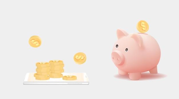 Cofrinho 3d com pilha de moedas no smartphone