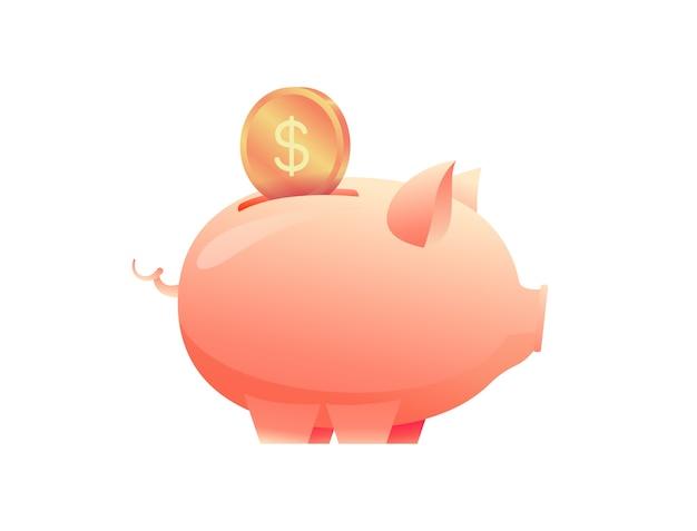 Cofrinho com dinheiro em moedas no fundo isolado