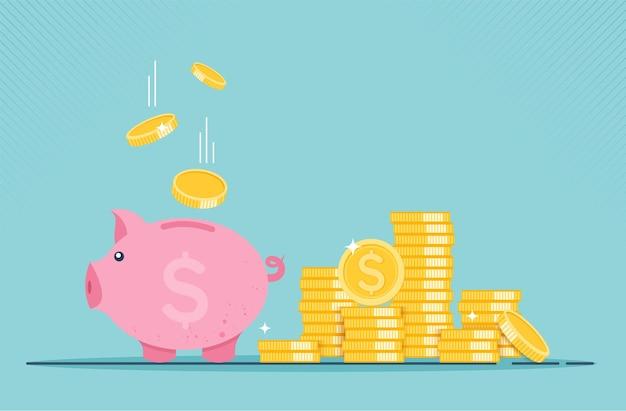 Cofrinho com ícone de moeda conceito de crescimento financeiro de coleção monetária ou estratégia de lucro
