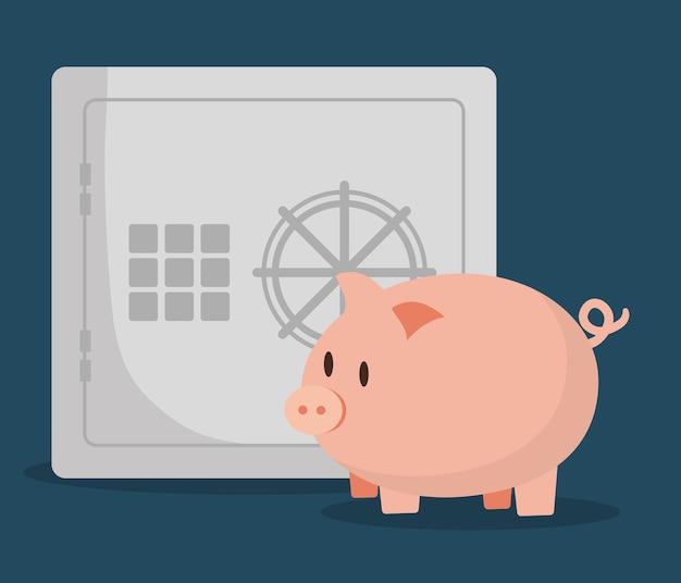 Cofrinho com imagem de ícones relacionados bancário