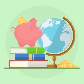 Cofrinho com pilha de livros, dinheiro e globo. economizando para educação