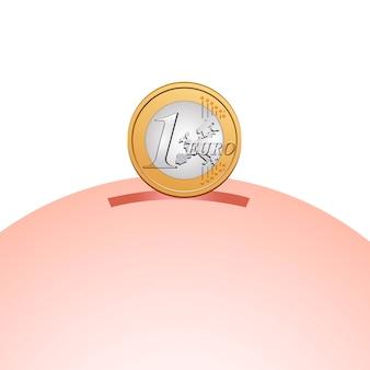 Cofrinho com uma moeda de euro