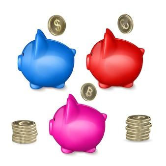 Cofrinho, conceito de economia de dinheiro, 3d