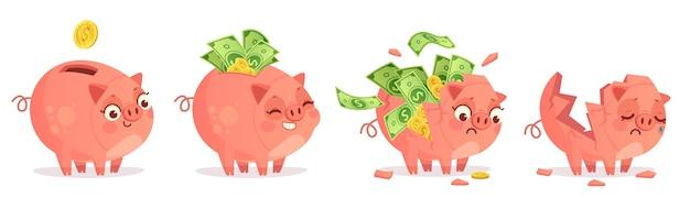 Cofrinho de desenho animado. poupança, depósito bancário e economize investimentos em dinheiro.