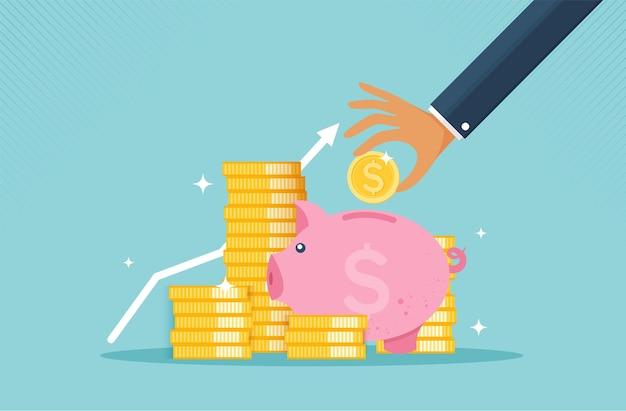 Cofrinho e mão com conceito de crescimento financeiro de ícone de moeda de coleção monetária ou estratégia
