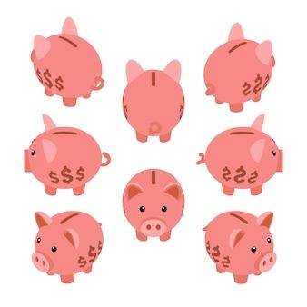 Cofrinho isométrico. conjunto das porquinhos mealheiro.