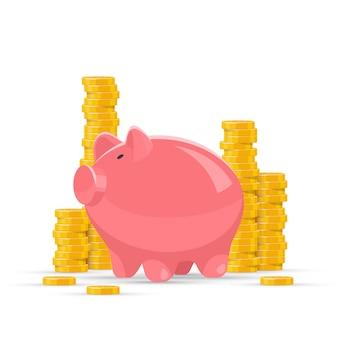Cofrinho rosa com ilustração de pilhas de moedas de ouro