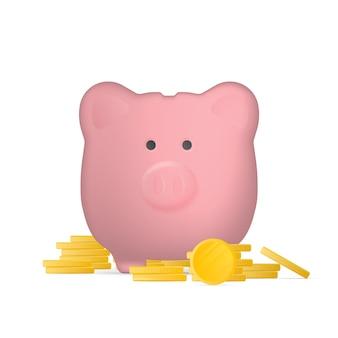 Cofrinho rosa em forma de porcos com moedas de ouro.