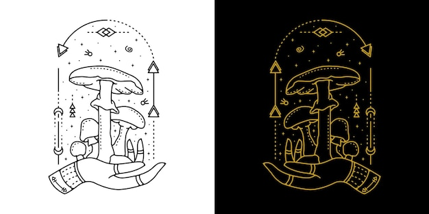 Cogumelo com tatuagem geométrica de mão design monoline