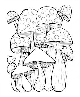 Cogumelo doodles vector para livro de colorir.