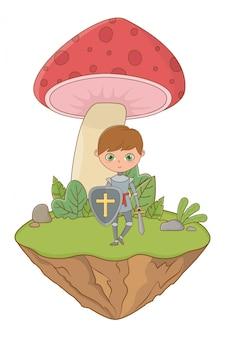 Cogumelo e caráter de ilustração em vetor design de conto de fadas