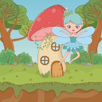 Cogumelo e personagem de conto de fadas