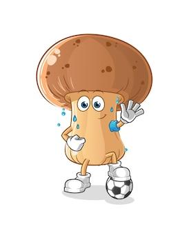 Cogumelo jogando ilustração de futebol. personagem