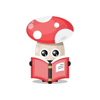 Cogumelo lendo um livro mascote de personagem fofo