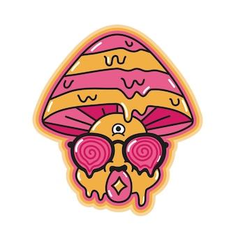 Cogumelo mágico psicodélico engraçado com marca de ácido na língua