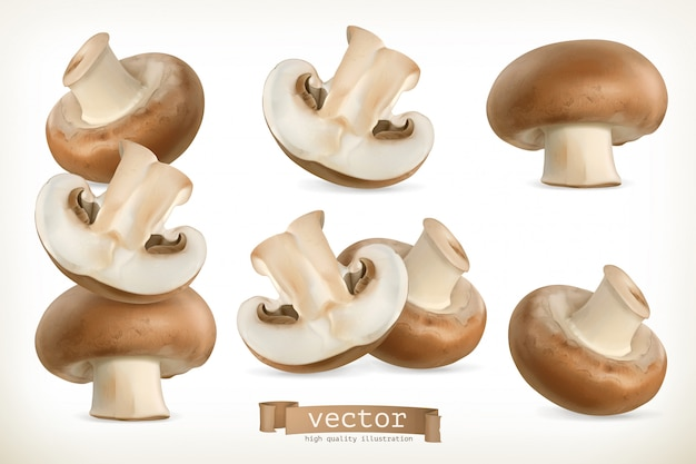 Cogumelo marrom cremini, 3d conjunto isolado no branco