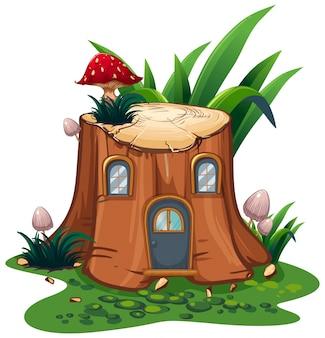 Cogumelo na árvore de toco no jardim