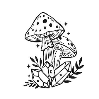Cogumelo para bruxaria com folhas e cristal ilustração em vetor isolada com fungies