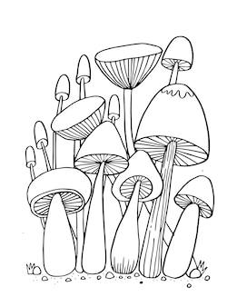 Cogumelo para livro de colorir ilustração isolada