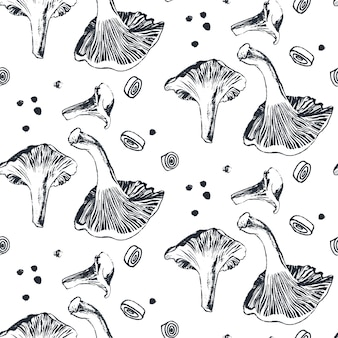 Cogumelos chanterelle com padrão de cebola e pimenta
