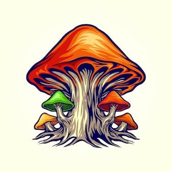 Cogumelos de planta fungo da natureza assustadora